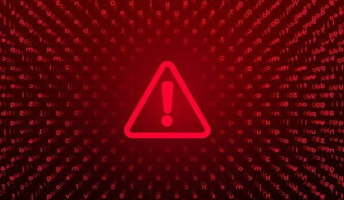 Red exclamation point representing a ransomware or virus attack.